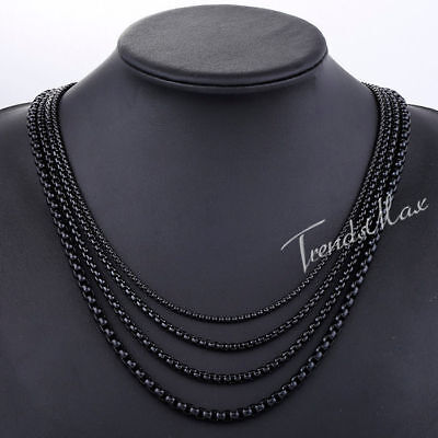 2/3/4/5mm MENS Chain Black Tone Round Box Link Stainless Steel Necklace18-36''