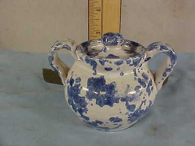 """Vintage CELIA COLE Covered SUGAR DISH--BLUE and WHITE """"Spatter"""""""