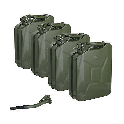 4 Jerry Cans - 20 Liters (5 Gallons) - Backup Steel Tank Fuel Gas Gasoline Green