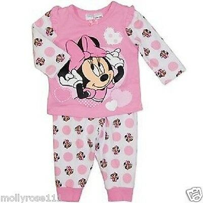 Baby Girl Pretty Pink 100% Cotton Minnie Mouse Winter Pjyama's