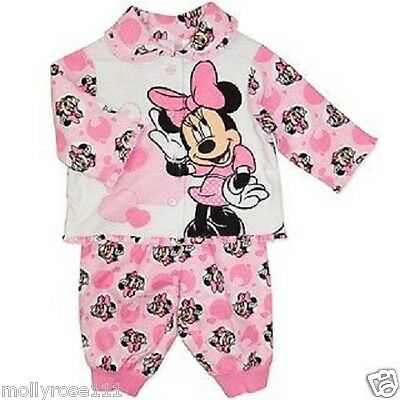 Baby Girl Pretty Pink  Minnie Mouse Cotton  Winter Flannel  Pjyama's  ..