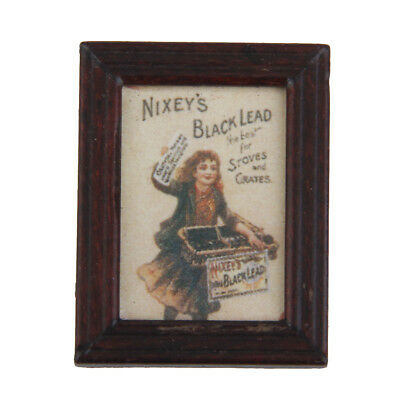 Vintage Dollhouse Miniature Framed Girl Selling Newspaper Picture Wall Painting