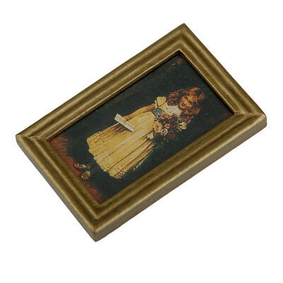 Dollhouse Miniature Framed Girl with Flowers Portrait Wall Painting Picture