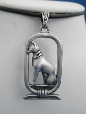 Egyptian Jewelry Bast Bastet Necklace Pewter Pendant with black cord #2518