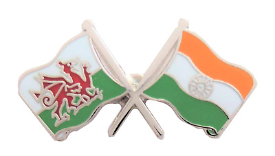 India Flag & Wales Flag Friendship Courtesy Pin Badge - T850