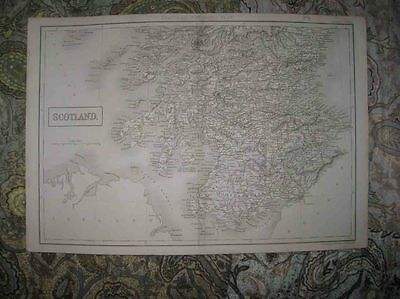 Antique 1850 South Southern Scotland Black Handcolored Travel Map Rare Fine Nr