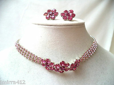 Stunning Modern Nos Mint New Old Stock Magenta Rhinestone Necklace Set!!! Bin 16