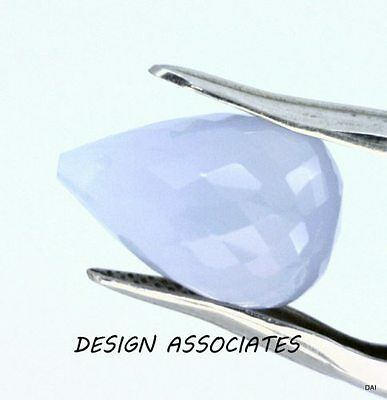 Blue Chalcedony 15 x 10 MM Drop Briolette  Outstanding Blue Color
