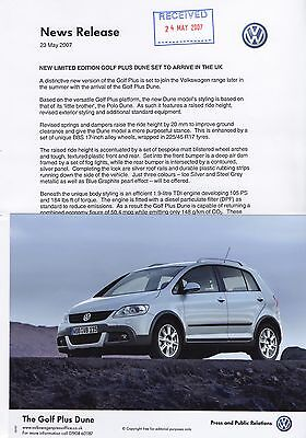 VW Golf Plus Dune Limited Edition Press Release/Photograph - 2007