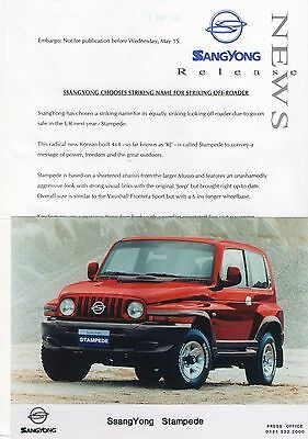 SsangYong Stampede Press Release/Photo - 1996