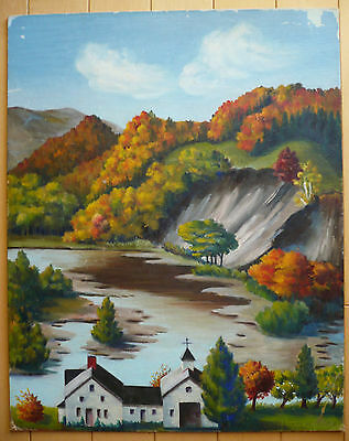 Vintage Landscape New England Boston Ma Impressionist Folk Mystery Oil Painting