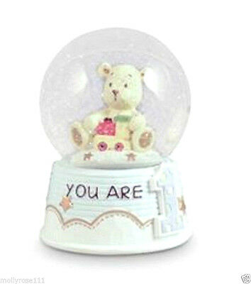Baby First 1st Birthday Snow Globe ~ You  Are One ~ Blue Teddy  Water Ball