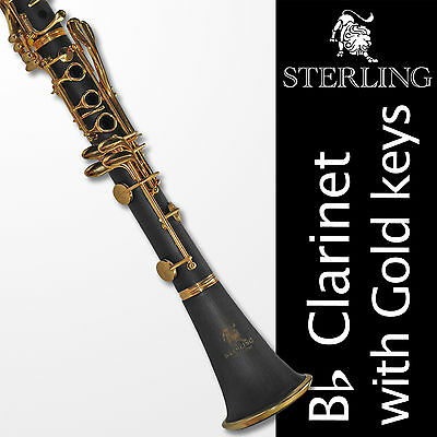 Bb Black and Gold Clarinet • Boehm 17 keys • STERLING • With Case • Brand New •