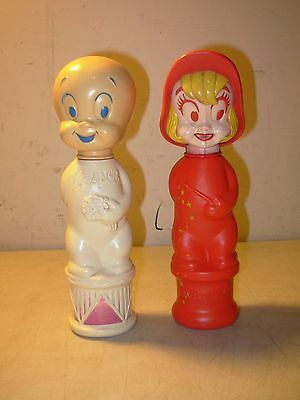 Vintage Casper The Friendly Ghost & Wendy Empty Soaky Bottles Harvey Colgate