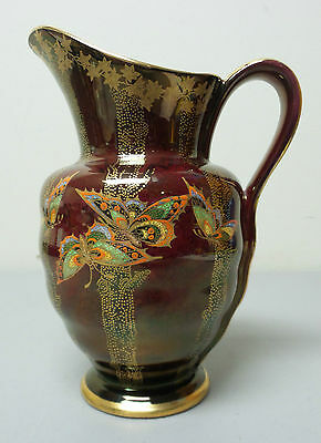 "GORGEOUS CROWN DEVON FIELDINGS ROUGE RED ""FAIRYLAND"" LUSTER PITCHER, c.1920's"