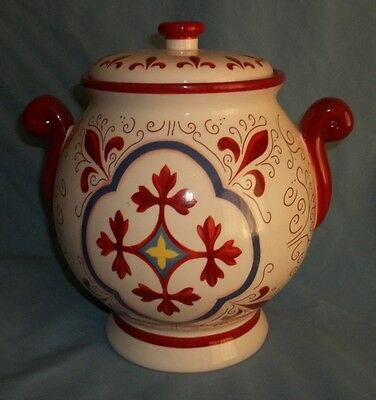 """Cookie Jar """" Hand Made For Nonni's In China""""  Red/white/ Unique Design"""