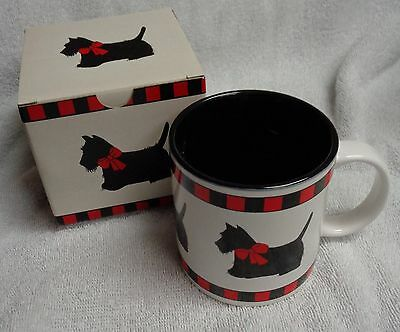 Scotty Scottie Dog Black And Red Grid Coffee Mug Dept 56 With Box