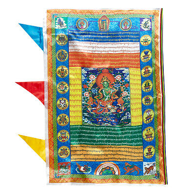 """36""""Tibet Wind Horse Prayer Flag: Green Tara Sutra Save You From Troubled Water ="""