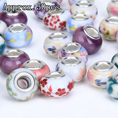 WHOLESALE 50pcs Porcelain Ceramic Beads Loose Bead 14mm Assorted Pattern Color