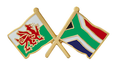 South Africa Flag & Wales Flag Friendship Courtesy Pin Badge - T841