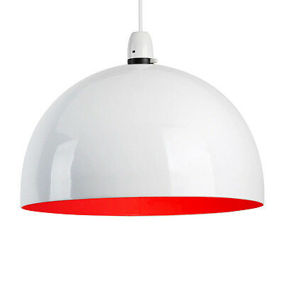 Contemporary Round Gloss White & Red Dome Ceiling Light Lamp Shade Lampshade NEW
