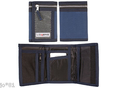 Mens Boys Lorenz Sports Velcro Wallet Trifold With Coin Note Card Zip Pocket