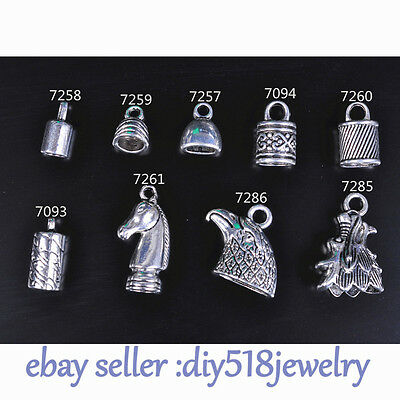Silver End Caps Crimp Bead Stopper Charm Fit 3-9mm Cord Jewelry Bracelet 9 style