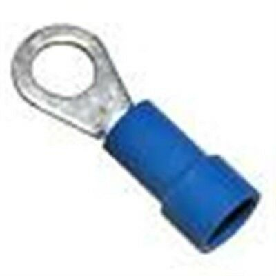 "100 Pc 16-14 AWG 3/16"" Stud, Vinyl Insulated Ring Terminals Blue Terminals"