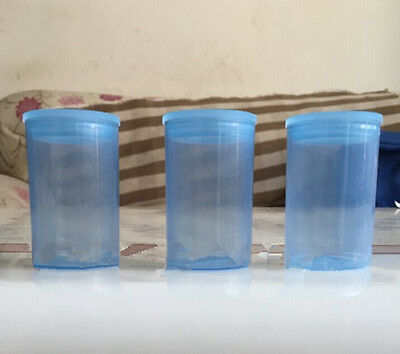 2pc Empty blue bottle 35mm film cans canisters containers JH36