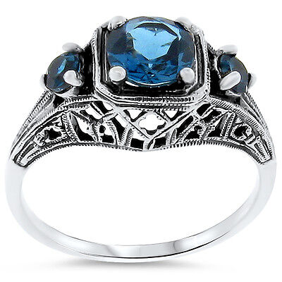 Genuine London Blue Topaz .925 Sterling Silver Antique Style 3-Stone Ring,  #188