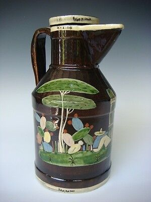 """Old vintage 1940s Mexican tourist pottery black Tlaquepaque pitcher 10"""" tall"""