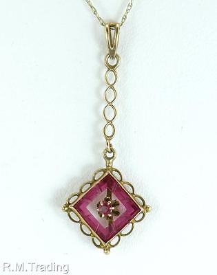 Antique Estate Art Deco 10K Yellow Gold Lavaliere .60ct Ruby Pendant 0.9g $725