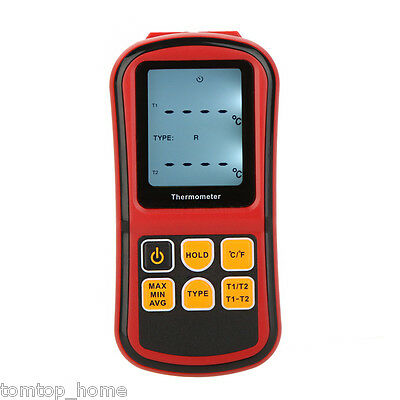Digital Thermometer 2-Channel K/J/T/E/R/S/N Thermocouple Temperature Tester US