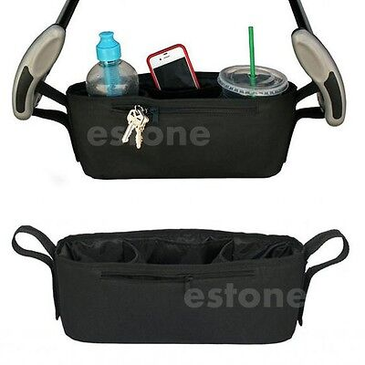 Baby Stroller Storage Bag Parent Tray Console Organizer Phone Drink Cup Holder