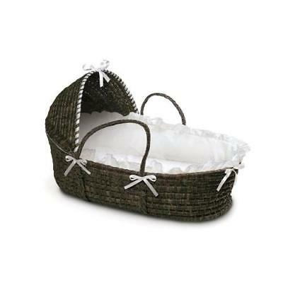 Badger Basket Moses Basket with Hood and Bedding, Espresso/White New