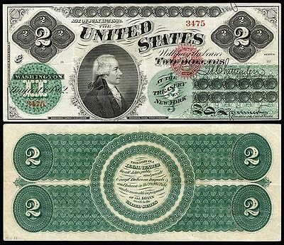 Nice Crisp Unc. 1862 U.s. $2.00 Greenback  Bank Copy Note! Read Description