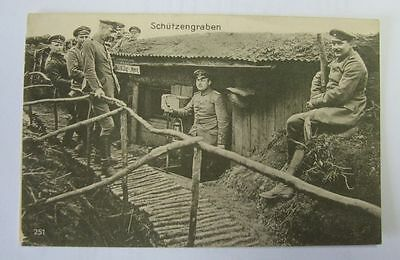 Vintage postcard German WW I 1916 Group of German soldiers in the trenches