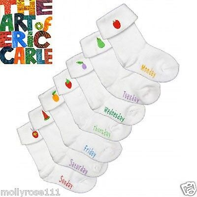 The World Of Eric Carle 7 Pairs Days Of The Week Baby Girl Boy Cotton Socks