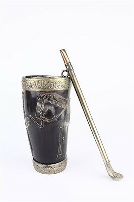 Antique Yerba Mate Carved Horn Rider Cup w/ Metal Straw