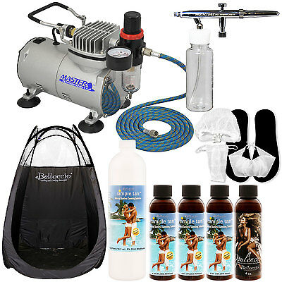 AIRBRUSH SUNLESS TANNING SYSTEM Kit Pint Simple Tan 8% Solution Tent Compressor
