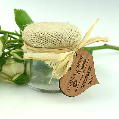 50x Personalised Favours Wedding Jelly / Jam Jars - Rustic Table Decorations