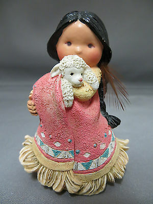 Friends of the Feather She Who Cares A Lot Native Indian Girl Lamb Figurine