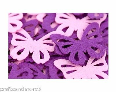 Pack of 10 - Pink or Violet/Purple or Mixed Felt Butterflies - 40mm & 60mm