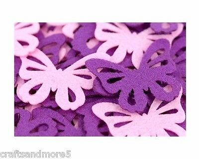 Pack of 20 - Pink or Violet/Purple or Mixed Felt Butterflies - 40mm & 60mm