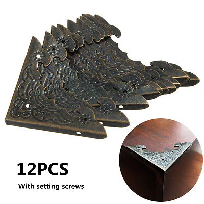 12PCS Vintage Antique Brass Jewelry Wine Gift Box Decor Wooden Corner Protector