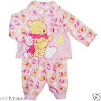 Baby Girl Pretty Pink  Winnie The Pooh Cotton  Winter Flannel  Pjyama's  ..