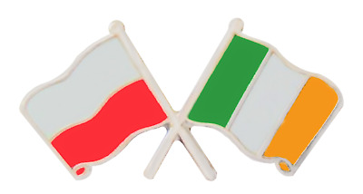 Ireland & Poland Flag Friendship Courtesy Pin Badge - T1161