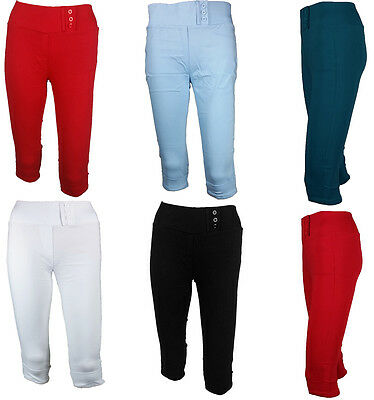 Ladies HIGH WAIST Crop 3/4 Skinny Fit Slim Trouser Stretch Pants Colour Leggings