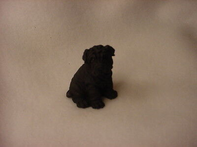 SHAR PEI black puppy TiNY FIGURINE Dog HAND PAINTED MINIATURE Small Mini Resin