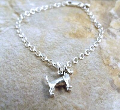 Child's Sterling Silver Chihuahua Charm on Sterling Silver  Rolo Bracelet - 3067